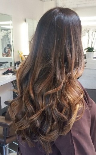 long layers and brunette highlights