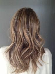 brunette with subtle blonde highlights