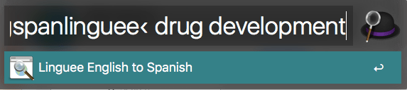 "An example of a Linguee search with Alfred for ""drug development"""