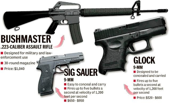 The weapons used in the Newtown massacre. Source: New York Daily News