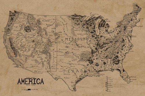 A map of the U.S. in the style of a fantasy map