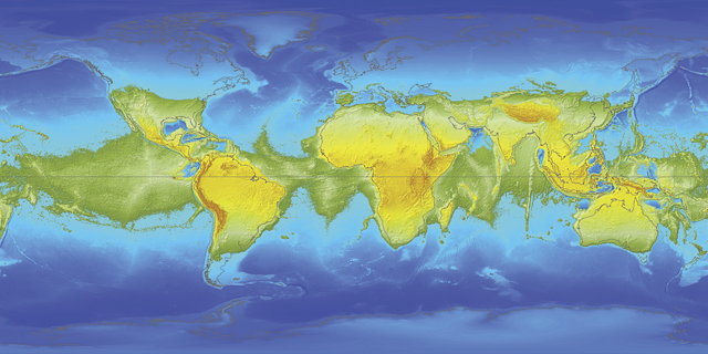 Map of world's oceans without centrifugal force (Esri)