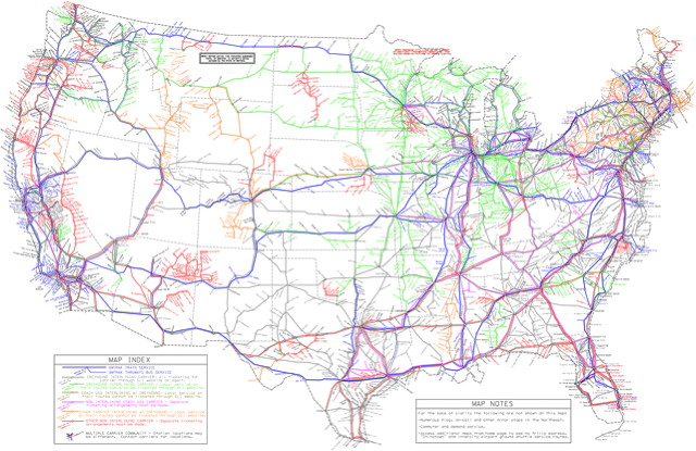 Map of public transport in the U.S.