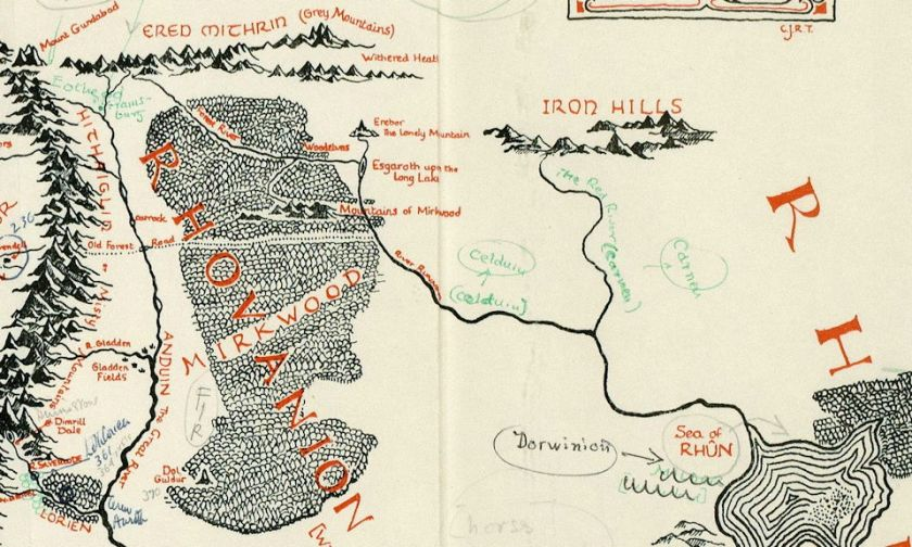 Detail of map of Middle-earth annotated by J. R. R. Tolkien