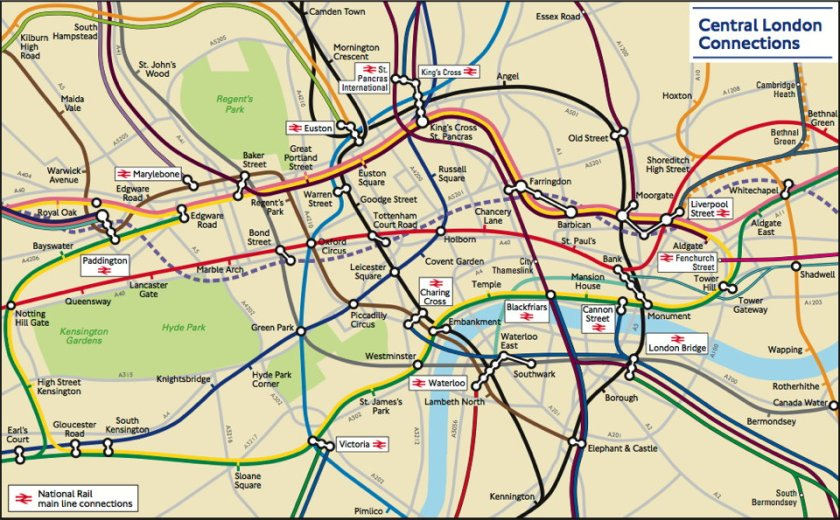 London Connections map (detail)