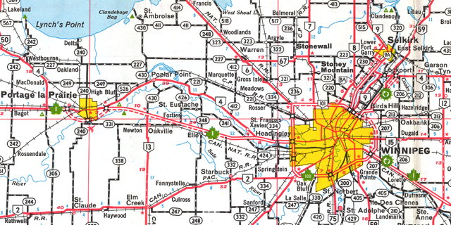 Detail from the 1966-1967 Official Highway Map of Manitoba