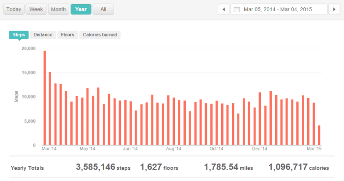 A year of steps