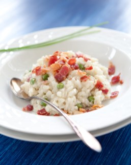 Gorgonzola Risotto with Peas and Bacon
