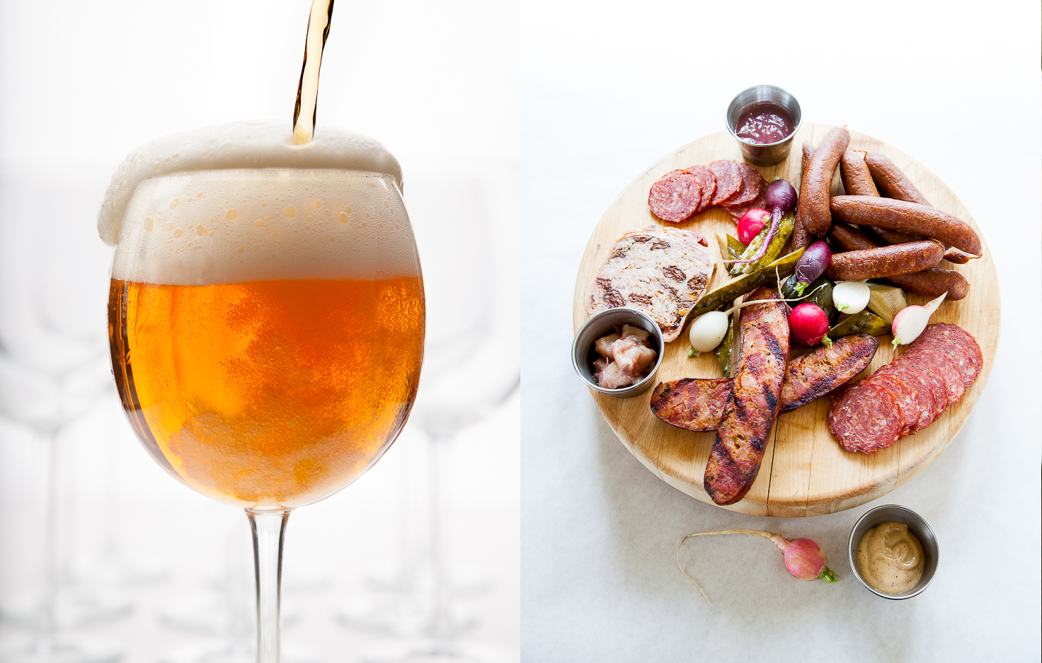 Beer in a Wine Glass | Tray of Meat
