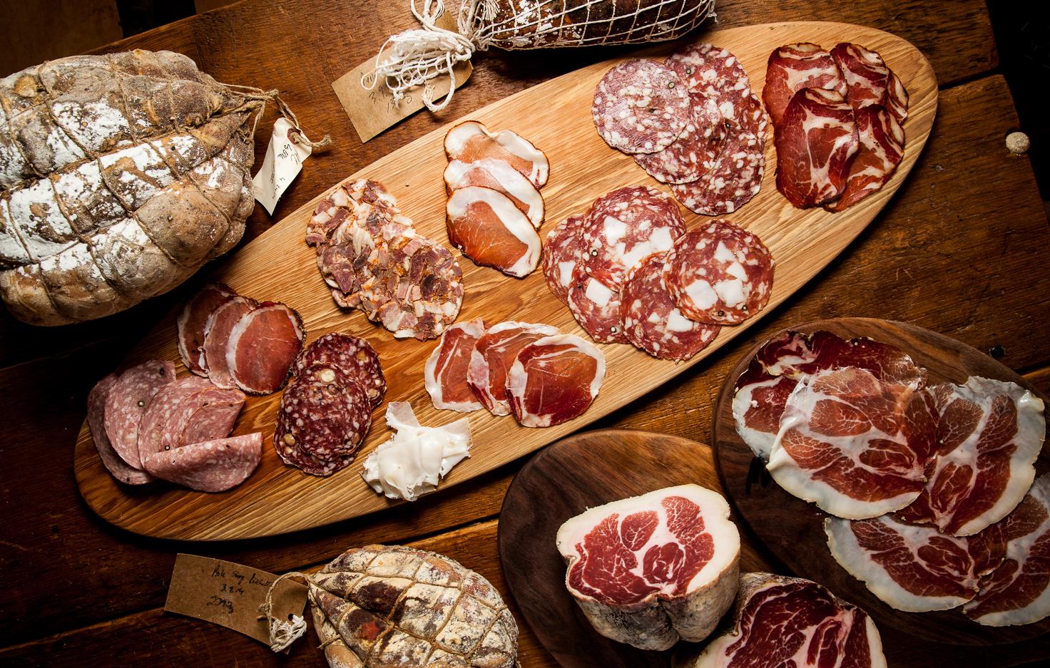 Cured meats at Salume Beddu in St. Louis, MO.