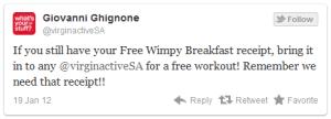 retort tweet from Virgin Active