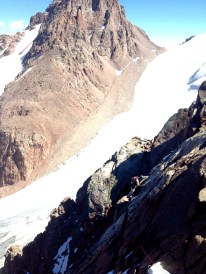 Matt traversing high above Bogdonovitch Glacier