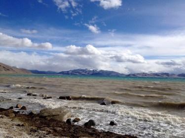 The view from the frigid, windy beach