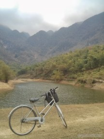 Mai Chau - rice fields lake with bike