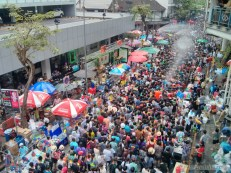 Songkran in Bangkok - Silom from above 10