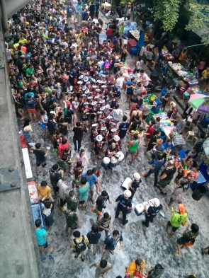 Songkran in Bangkok - Silom from above 19