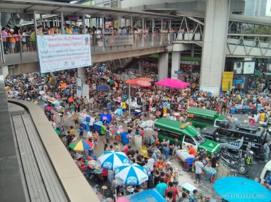 Songkran in Bangkok - Silom from above 31