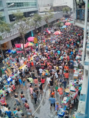 Songkran in Bangkok - Silom from above 6