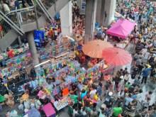 Songkran in Bangkok - Silom from above 9