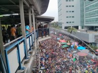 Songkran in Bangkok - Silom from above safe from water 2