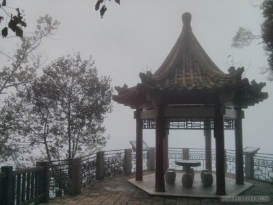 Sun Moon Lake - fog covered pogoda