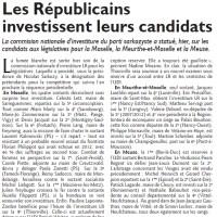 Législatives 2017 : Investitures des Républicains en Moselle