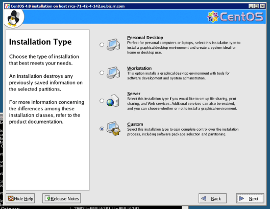 Remote VNC Install Linux CentOS Select Package