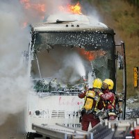 Coach fire on the M1 motorway
