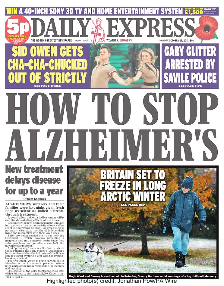Britain set to freeze in Long Artic Winter - Hugh Ward and Barney brave the cold in Peterlee, County Durham - Daily Express - November 2012