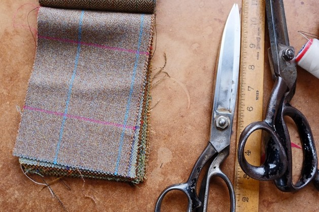A tweed design, chosen by the customer, ready to be made into a suit.