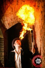 Performance photographer in North Lincolnshire - Tim Cockerill fire breathing in Thornton Abbey