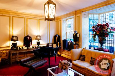 Jackets and Yorkshire & Italian cloth in the show room - Chrichton Bespoke