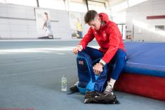Cameron preparing for training at Gateshead College Academy for Sport