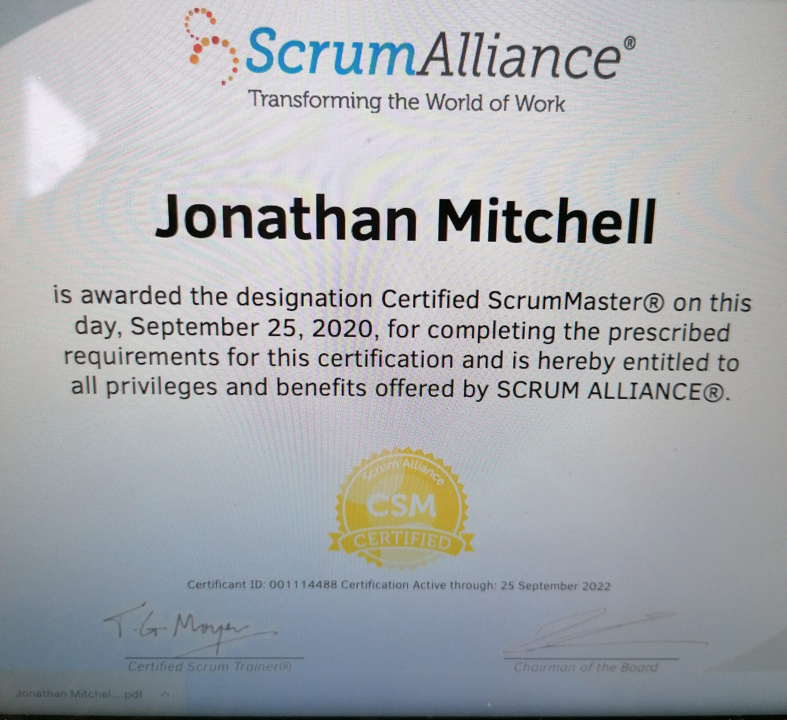 Read more about the article Scrum Alliance Certified Scrum Master