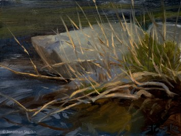By Rock and Water, oil on panel, 6x8, SOLD