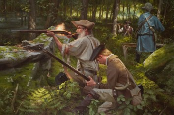 Making a Stand At the Warner Place: Battle of Cobleskill, May 30, 1778, oil on linen, 24x36, SOLD