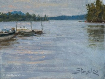 At the Dock, Raquette Lake, oil on panel, 5x7