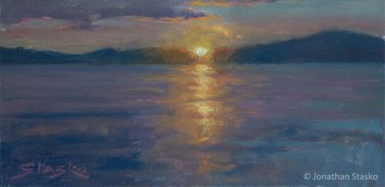 Sunset Over the Lake, oil on panel, 6x12