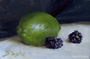 Lime, oil on panel, 4x6, SOLD