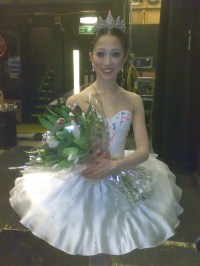 Erina Takahashi backstage at the Coliseum after her Sugar Plum on opening night.