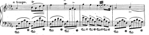 Chopin's Fantaisie Impromptu (middle section). It sounds like an ordinary phrase but it isn't.