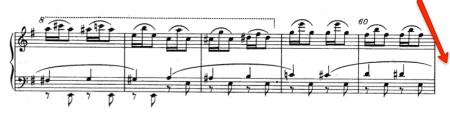 Picture of a page of the score for Tchaikovsky's Nutcracker (Sugar Plum Fairy variation, the manège section)