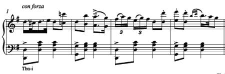 Male solo from Diable à quatre piano score: a big two for allegro