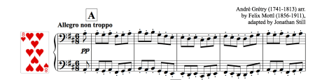 Image of the piano score of a gigue by Grétry
