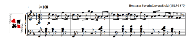 Image of piano score of The reel from La Sylphide, Bournonville's ballet with music by Løvenskiold