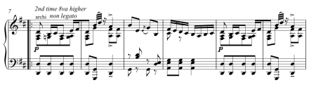 Segment of piano reduction of Guiraud's Gretna Green used in Coppélia