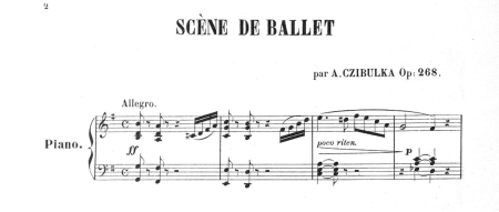 Czibulka Scene de ballet, first page of the sheet music