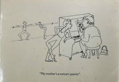 Cartoon by Marlene Spiers of a ballet pianist