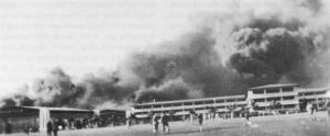 Burning Depot and Barracks Hickam Field 7 December 1941