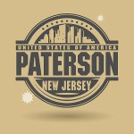 Stamp or label with text Paterson, New Jersey inside